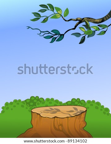 Tree stump with an overhead branch - stock vector
