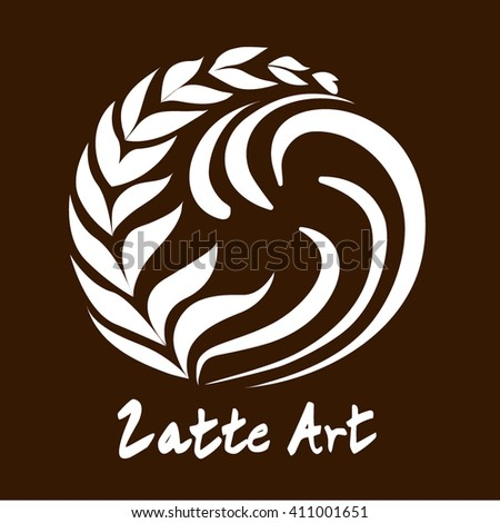 Tree Swing Latte Art Coffee Logo, Icon, Symbol for Coffee Shop with Coffee Color Background - stock vector