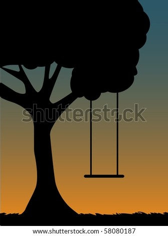 Tree Swing Silhouette at dusk - stock vector