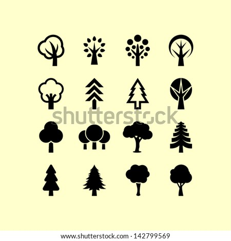 Tree symbols - stock vector