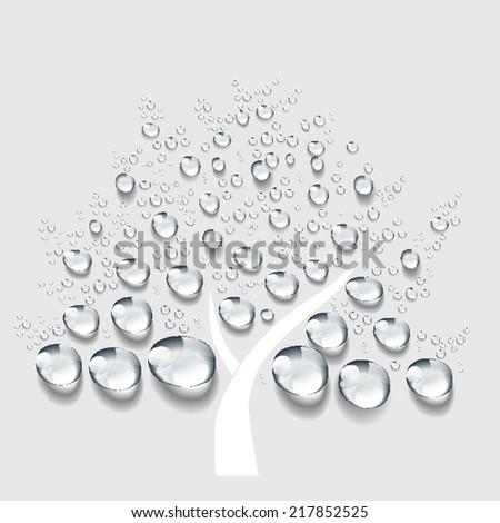tree, Transparent water drop vector - stock vector