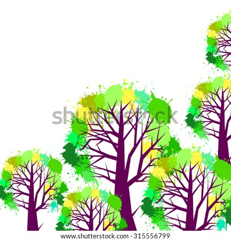 tree vector design background style creative illustration branches blots - stock vector