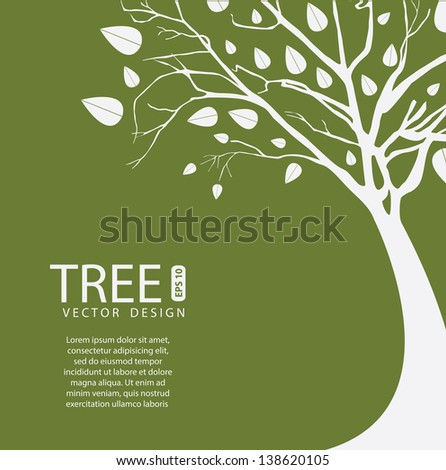 Tree vector design over olive background vector illustration - stock vector