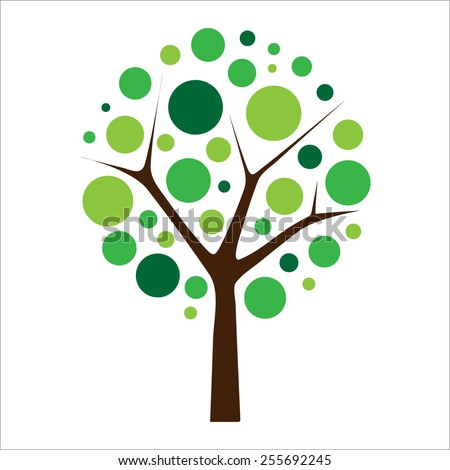 Tree vector with green colored bubbles around the branches isolated on a white background. Simple tree illustration for logo, icon and symbol. - stock vector
