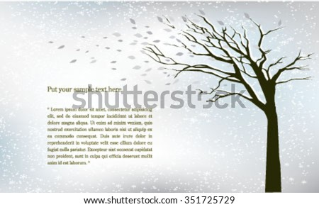 Tree wind blowing in the snow - stock vector