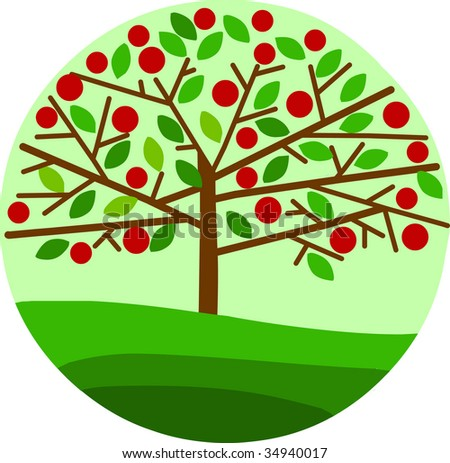 tree with an apples - stock vector