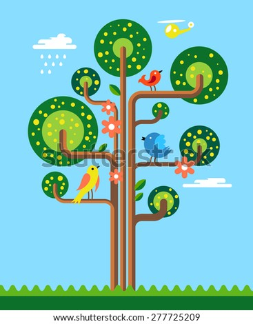Tree with Birds and Flowers. Vector Illustration - stock vector