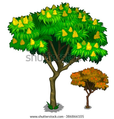 Tree with buds. Vector illustration. - stock vector