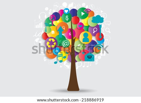 Tree with cloud of application. Vector illustration. - stock vector