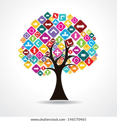 Tree with colorful arrow icon stock vector - stock vector