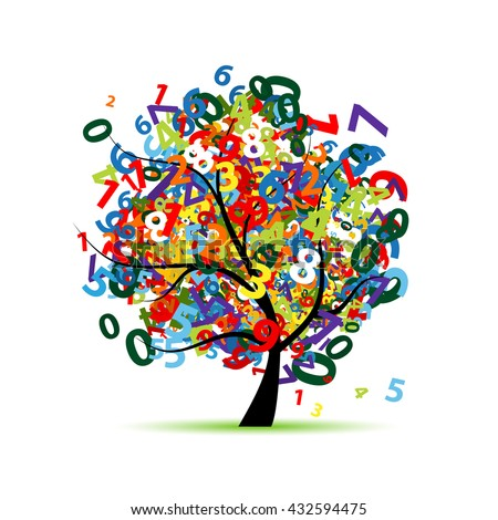 Tree with colorful numbers for your design. Vector illustration - stock vector