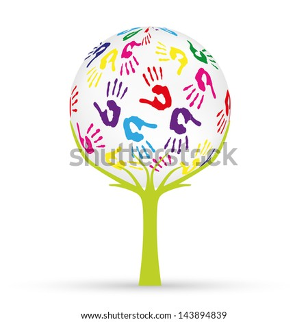 Tree with earth - stock vector