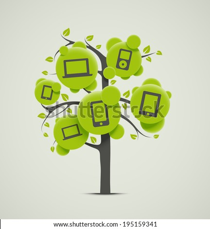 Tree with electronics, eps 10 - stock vector
