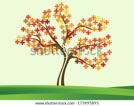 Tree with floral leaf - Vector format