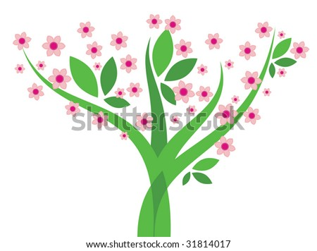 Tree with flowers - Vector image - stock vector