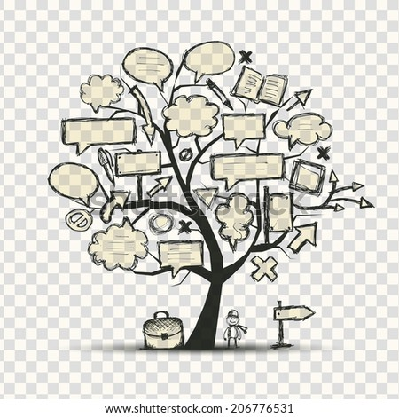 Tree with frames, transparent background - stock vector