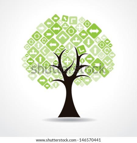 tree with green arrow icon stock vector - stock vector