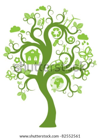 Tree with green ecology icons and design elements - stock vector