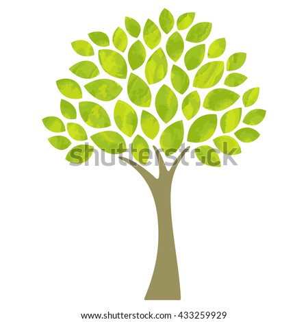 Tree with hand drawn watercolor textured leaf - stock vector