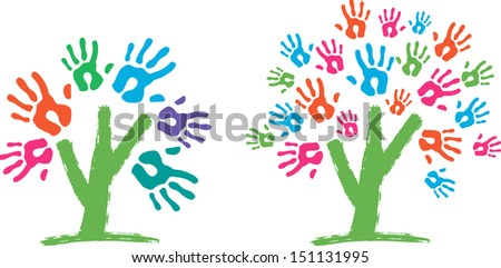 Tree with hands - stock vector