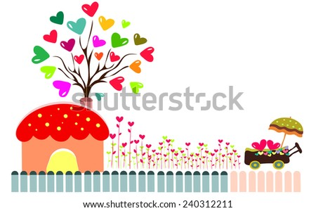 tree with hearts background   - stock vector
