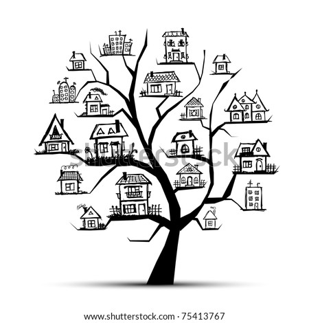 Tree with houses on branches - stock vector