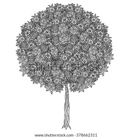 Tree with leaves and flowers. Vector. Coloring book page for adults. Hand drawn. Bohemia concept for wedding invitation, card, ticket, branding, logo, label. Black and white