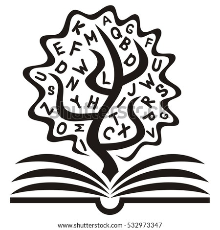 Tree Letters Open Book Symbol Education Stock Vector 532973347