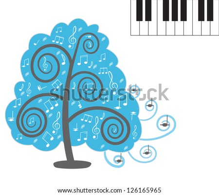 Tree with notes. Piano keyboard. Vector illustration - stock vector