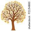 Tree with orange leaves 1 - vector illustration. - stock photo