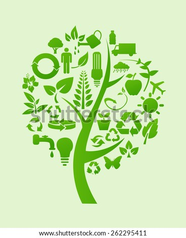 tree with recycle symbols - stock vector