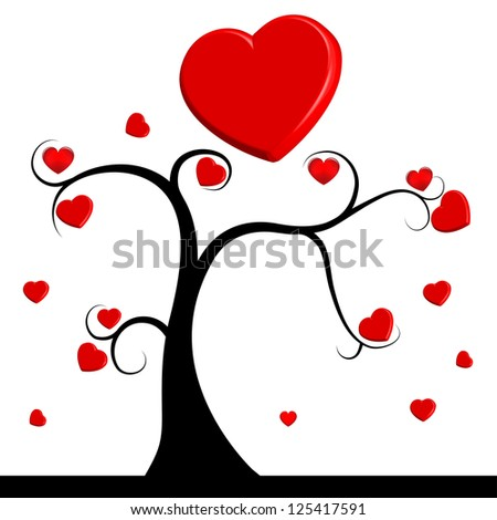 tree with red hearts - stock vector