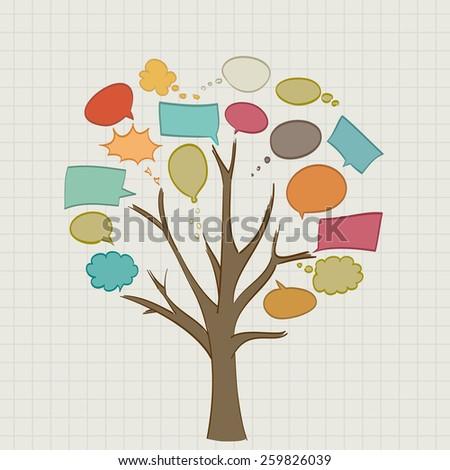 Tree with retro speech bubbles - stock vector
