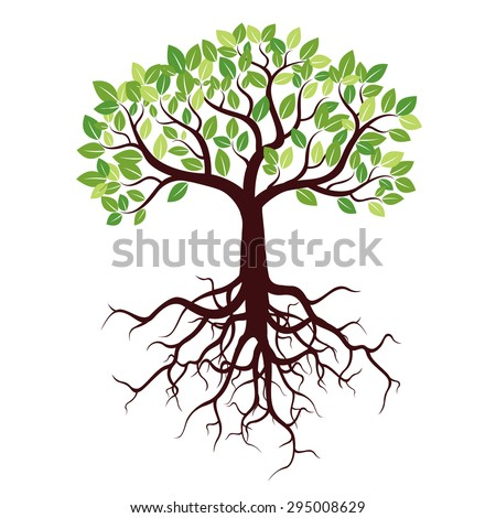 Tree with Roots and Leafs. Vector image.