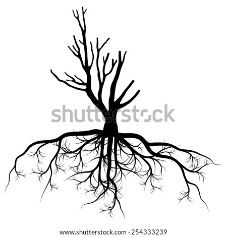 Tree with roots background vector pollution concept - stock vector