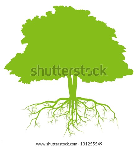 Tree with roots green ecology vector background concept - stock vector