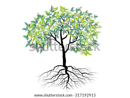 tree with roots ,isolated tree vector illustration - stock vector