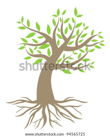 Tree with roots. Vector illustration - stock vector