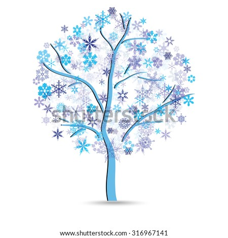 Tree with snowflakes instead of leaves on the white background - stock vector