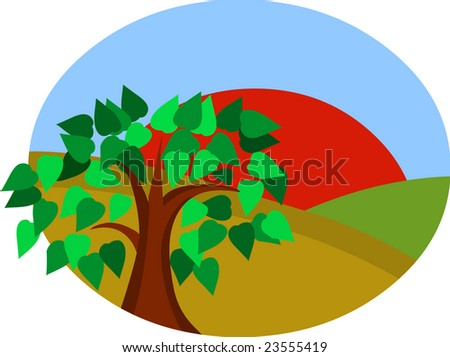 tree with sun and landscape - stock vector