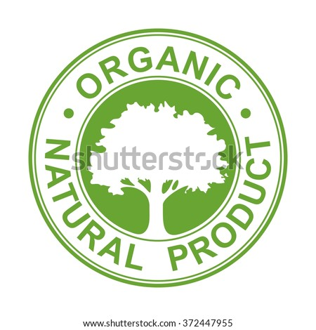 Tree with text for organic products. Vector Isolated illustration for label, icon, web.