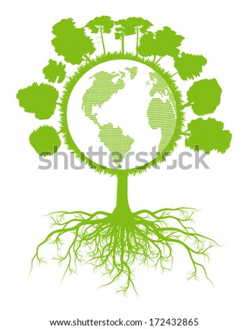Tree world globe ecology vector background concept with roots - stock vector