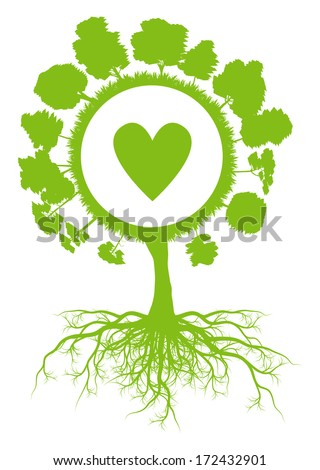 Tree world globe ecology vector background concept with roots and heart - stock vector