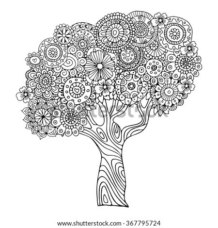 Tree Zentangle Pattern Coloring Book Stock Vector Royalty