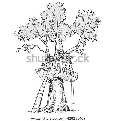 Treehouse. Hand drawn, vector illustration.  - stock vector