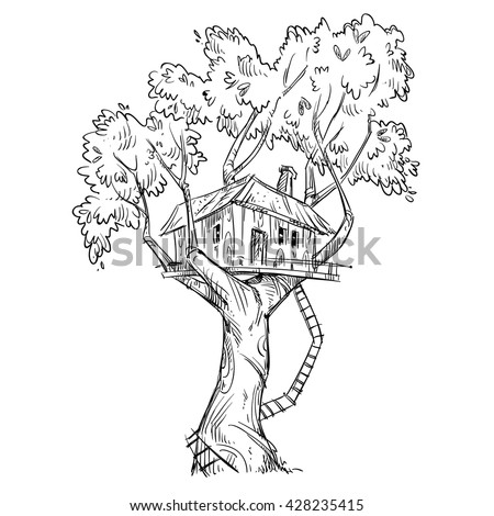Kids Tree House Drawing treehouse stock images, royalty-free images & vectors | shutterstock