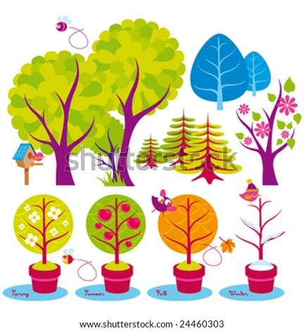 trees and birds - stock vector