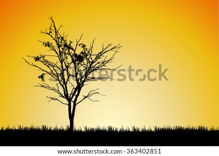 Trees and branches silhouette in aqua. Detailed vector illustration. Forest banner.