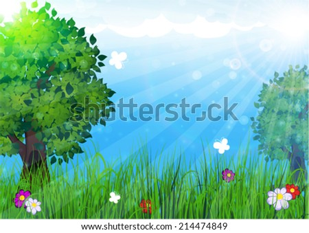 Trees and flowers in the meadow. Summer  landscape nature. - stock vector