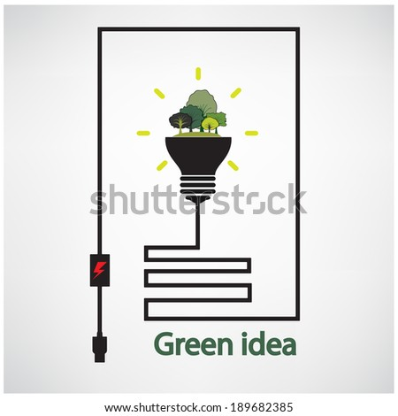 trees and green light bulb on background,green concepts ,vector illustration contains gradient mesh - stock vector